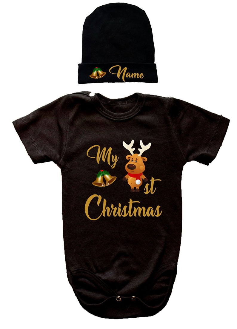 Cute Christmas Set White Baby Hat Bodysuit Name Personalization Unisex Baby Shower Gift Gold Letters Print Hat Personalization