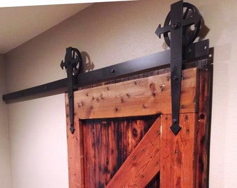 "Sliding Barn Door Hardware Set with Arrow ""t"" Straps and 6"" Spoked Wheels, Includes 2"" Wide Track and All Mounting Hardware"