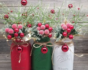 mason jars country christmas decor rustic holiday decor farmhouse holiday decor cabin christmas cabin decor christmas mason jars holidays