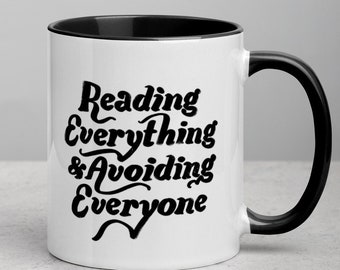 Funny Reading Mug / Books and Coffee Novelty Mug / Gifts for Readers / Bookish Gifts/ Funny Introvert Mug / Bibliophile Gifts