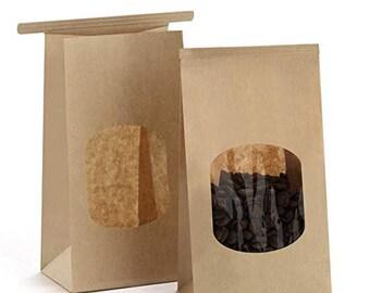 8e3576bab8 Kraft Tin Tie Bags - Set of 10 w/ window , Treat Bags, Window Bags, Wedding Favor  Bags, Cookie Bags
