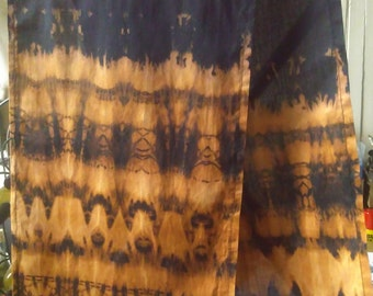 Shirbori style black and brown scarf, tie dye cotton scarf, hand made summer scarf