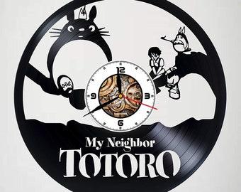 b9b184adaf63 Studio Ghibli Totoro murale horloge fait Vinyl Record Original fait à la  main meilleur idée cadeau anniversaire mariage anniversaire salon Design  Unique