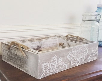 White Washed Vintage Impressionist Trays with Handpainted Boho Floral Design