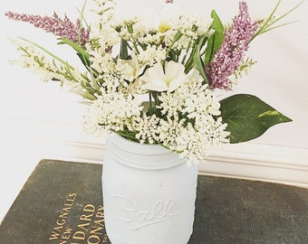 Floral Arrangement in Eggshell Blue Milk Glass Mason Jar
