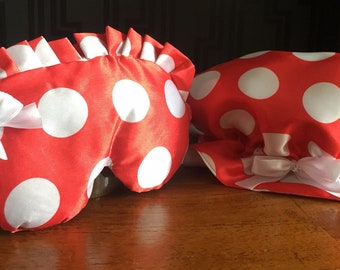 Sew many occasions, Rosalie Red,  Satin Sleep Mask & Shower Cap Gift Set.
