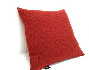 Textured red pillow cover