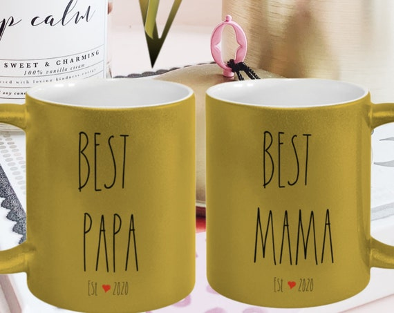 Personalized Couples Mugs Set | Best Papa Mama Metallic Gold Mug Gifts for New Parents | New Dad Gift | New Mom Gift