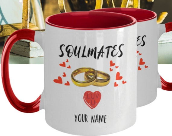 Soulmates Coffee Mug - Personalized Anniversary Mug, Engagement Gift, Gift for Her