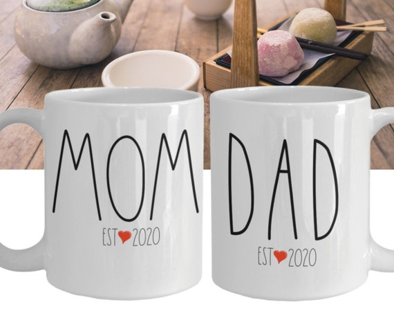 New Mom New Dad Mug Set Est. 2020, Couples Mugs Set, Gifts for New Parents,  New Mom Gift, New Dad Gift, Expectant Parents