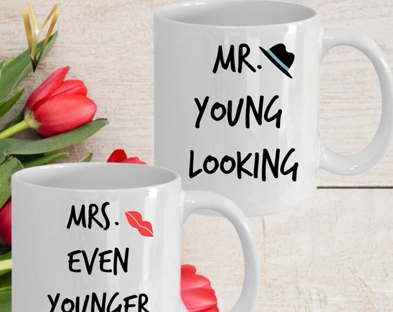 Couples Mugs Set | Mr Young Looking Mug Est. 2020 | Gifts for Parents Grand Parents | Dad Gift | Mom Gift | Anniversary Birthday