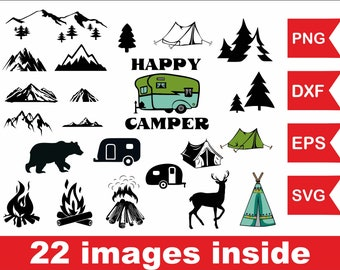 Happy Camper Clipart Pdf Eps Dxf Vector Vinyl Sign