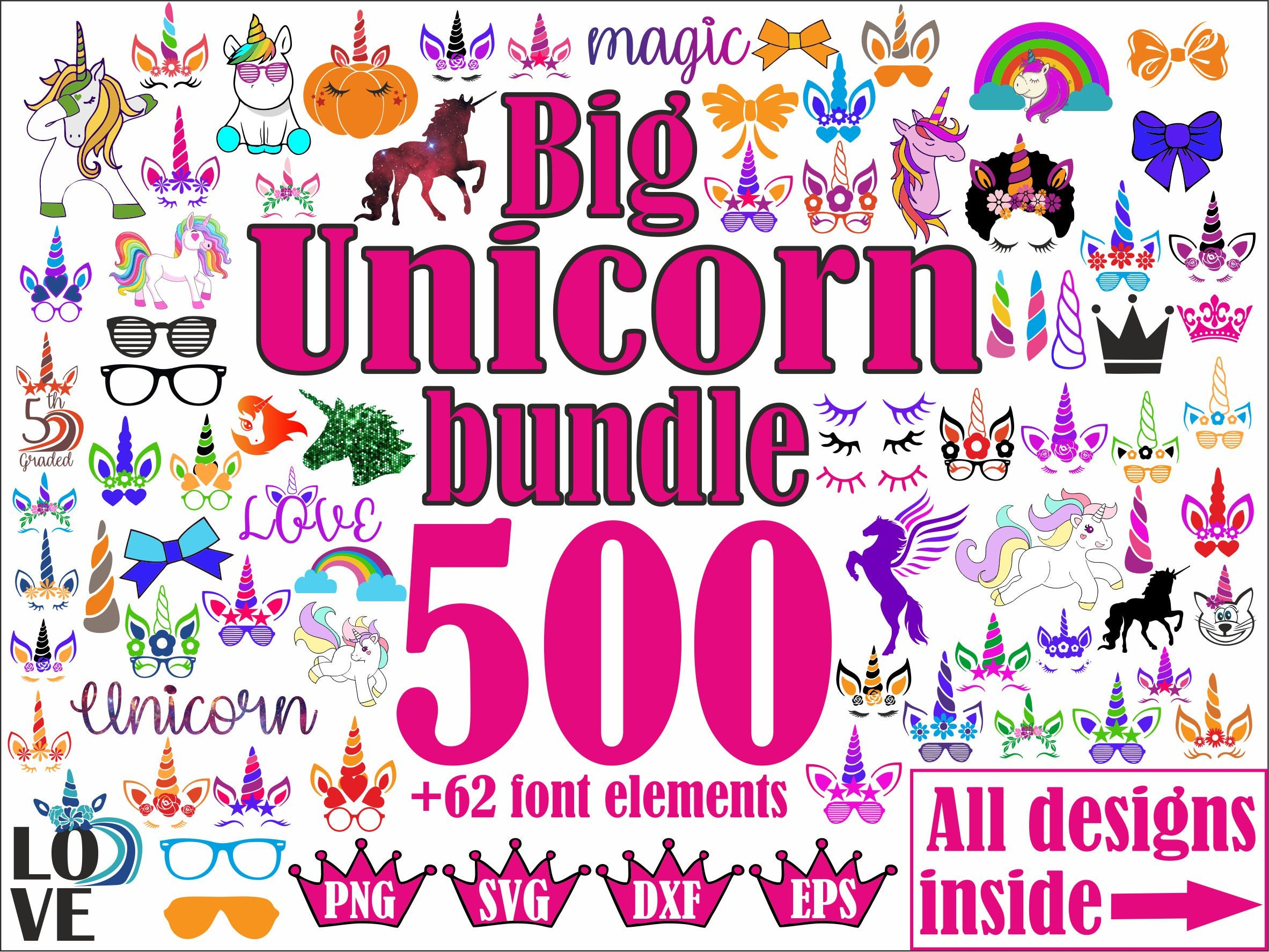 Unicorn Face Svg Unicorn Monogram Svg File Cricut Png Dxf Etsy