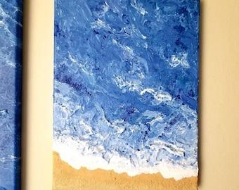 Original Textured Seascape Painting Canvas 3D Art Pour Ocean Seashore Fluid Home Decor Beach Wave Sale