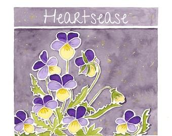 Flower card, heartsease, thinking of you, sympathy