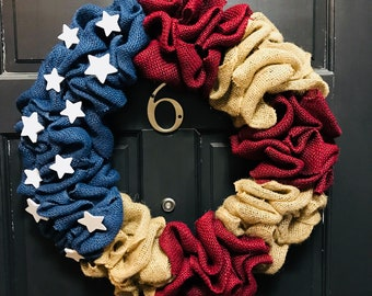 American Flag Wreath - Red, White and Blue Burlap Wreath