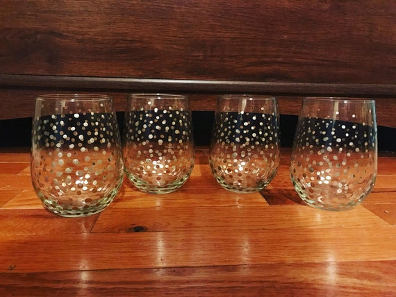 Gold Polka Dot Stemless Wine Glasses Set Of 4 Available In Etsy