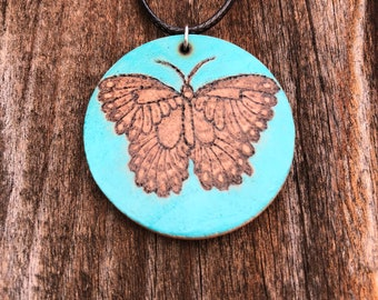 Wood Burned Butterfly Necklace