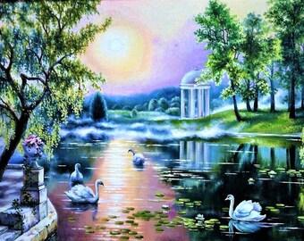 Old park (swans), landscape, copy of Satarov, oil on copy, painting, fine art, oil painting, original, strange, unique, painting copy, art,