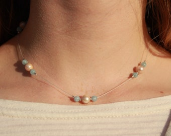 Beaded Choker, Salt water pearls and aquamarine beads on wire with sterling silver clasp