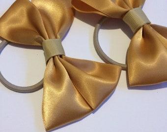 Gold Satin Hair Bows