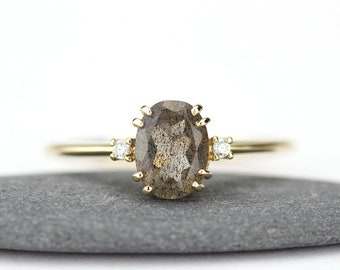 delicate diamond ring, engagement ring, oval engagement ring, anniversary ring, minimalist ring, simple ring, modern ring, labradorite ring