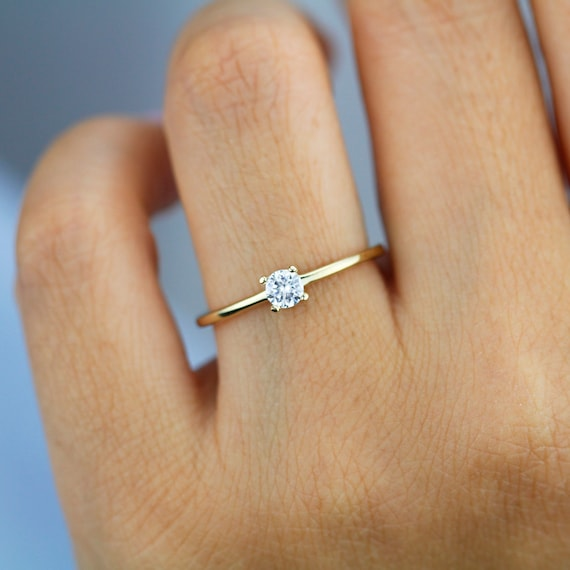 Engagement Ring Diamond Solitaire Gold Ring Simple Etsy