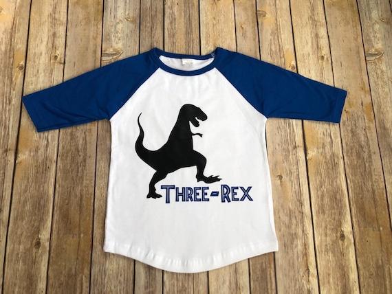 Three Rex T Shirt 3 Year Old Boy Third Birthday