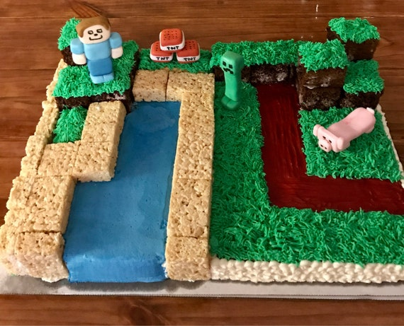 Edible Minecraft Inspired Cake Topper Set Etsy