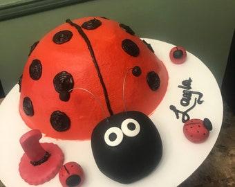 Fondant ladybug cake topper set