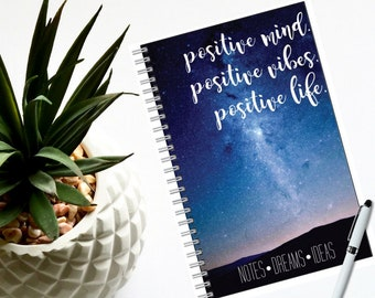 """Notebook, Milky Way Quote 80 pages-Lined or Blank 5.5"""" x 8.5""""- Nature-Traveler Notebook-Boho Journal-Ideas-Dreams-Sketch-Gift for Her or Him"""