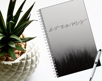 """Notebook-Black & White 80 pages-Lined or Blank-Nature-Traveler Notebook 5.5"""" x 8.5"""", -Boho Journal-Ideas-Dreams-Sketch-Gift for Her or Him"""