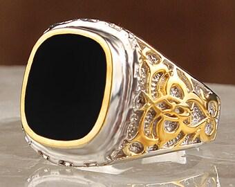 Rodaj Plating Covering 925 Sterling Silver Men's Ring