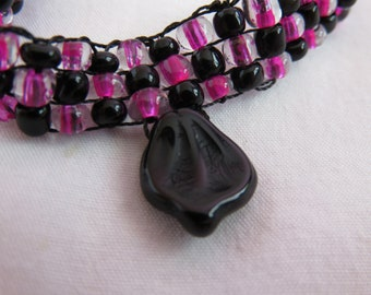 Beadwoven Necklace in Pink and Black w/ Black Focal Bead