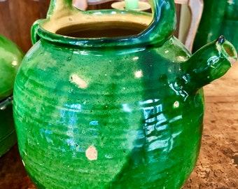 Antique French Confit Pottery Cruche Jug Pot
