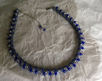 Beaded Tunnel Necklace from blue and silver seed beads, Handmade