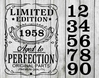Limited edition aged to perfection svg, birthday svg bundle, birthday clipart, cut files for cricut silhouette, png, dxf, eps, svg