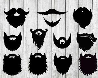 Beard svg bundle, beard clilpart, hipster svg bundle, hipster clipart, cut files for cricut silhouette, tshirt transfer, svg, png, dxf,eps