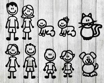 Stick family svg bundle, stick family cut files, stick family clipart, cut files for cricut silhouette, png, dxf, eps