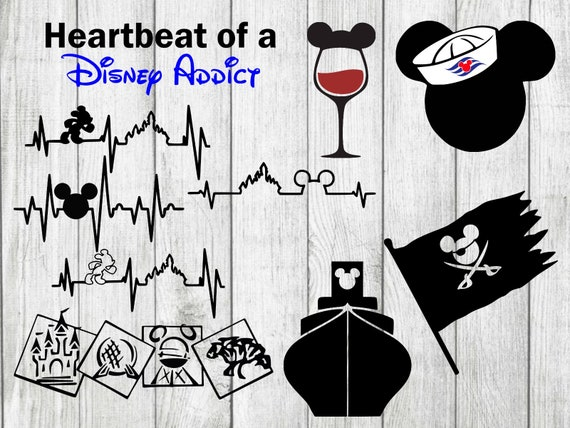 Disney Svg Bundle Heartbeat Of A Disney Addict Svg Cut Files Etsy