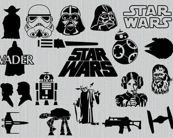 Star wars svg bundle, star wars clipart, cut files for cricut silhouette, png, dxf, eps