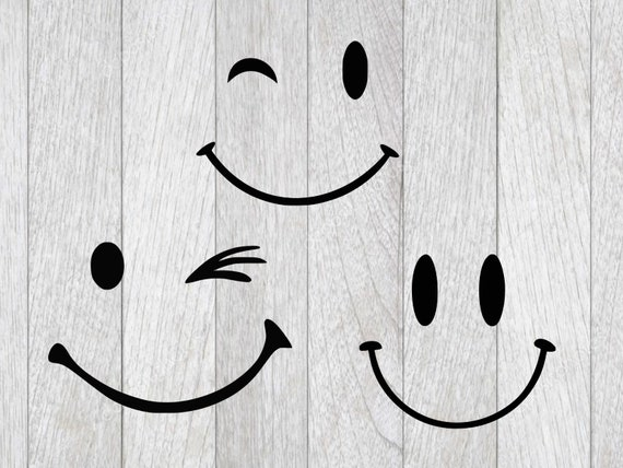 Smiley Face Svghappy Face Cutting File Wink Smiley Clip Art Silhouette Stencil Template Dxfcricut Design Transfer Instant Download