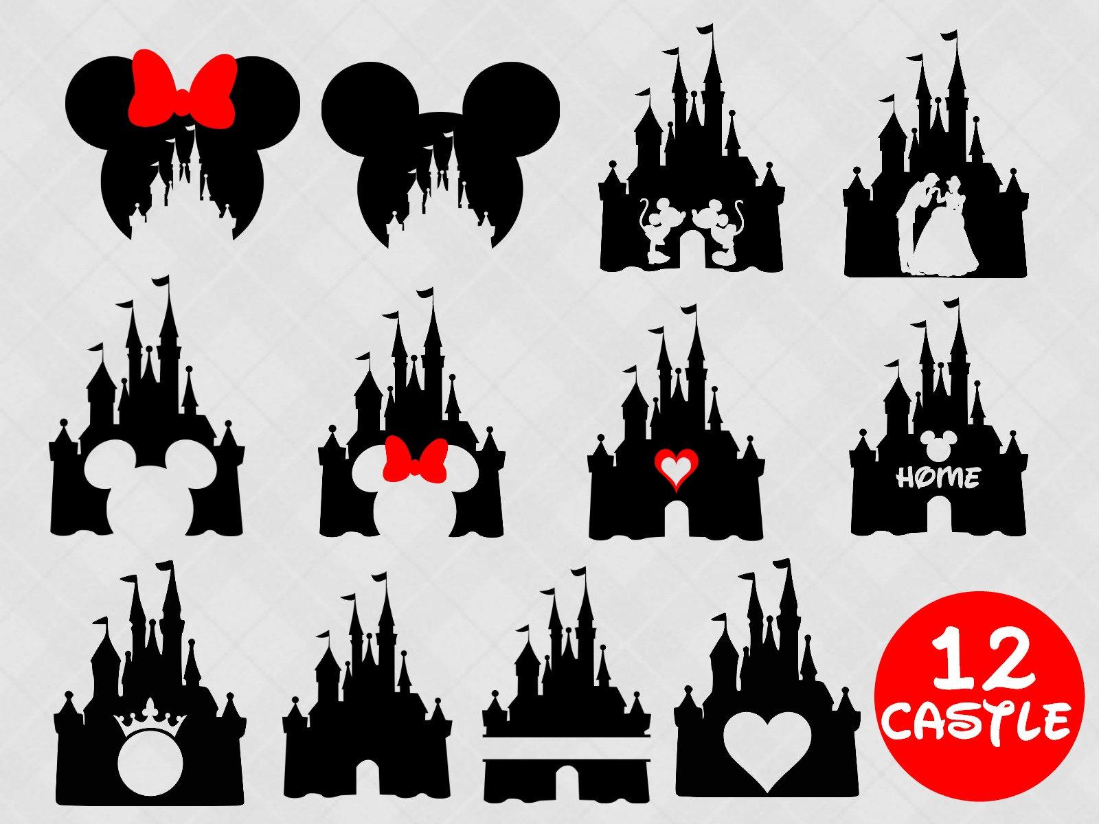 Disney castle svg bundle disney castle clipart Heart Head ...