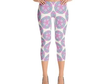 Pink mandala capri leggings