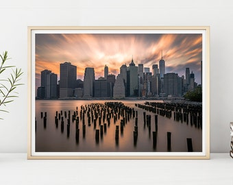URBAN PRINT #002 Brooklyn, East River, Iconic, New York, Photography, Printable Instant Download, Digital Download, Large Poster, Home Decor