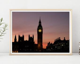URBAN PRINT #004 Big Ben, Westminster, London, Sunset, Photography, Printable Instant Download, Digital Download, Large Poster, Home Decor