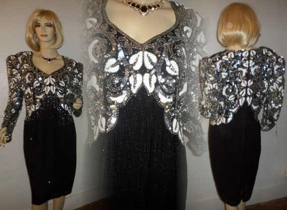5a888dcd Vintage Beaded Sequin Dress Oleg Cassini Black Tie 1970's | Etsy