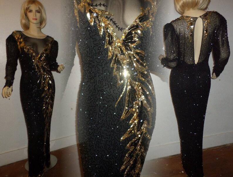 37654ed9 Vintage Sequin Gown Full Length Oleg Cassini Black Tie | Etsy