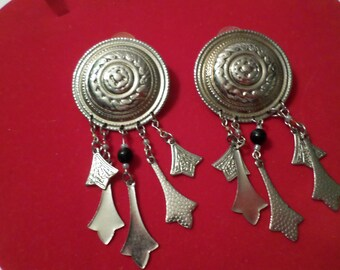"""Vintage Dangle Earrings Lightly Embellished with Beads Disk Style Pierce 3x2"""""""