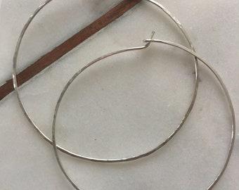 2 1/2 inch sterling silver hammered hoop earring